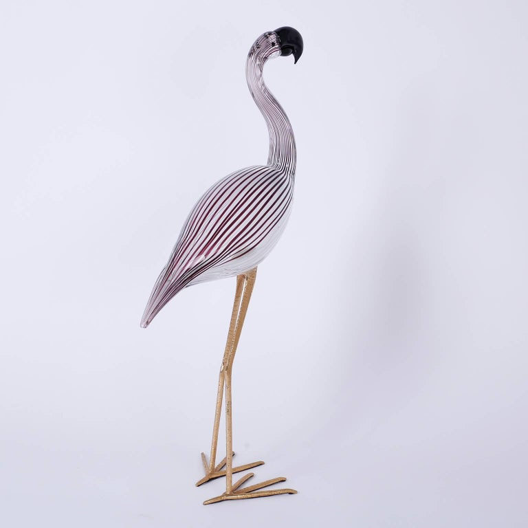 Mid-Century Modern Murano Glass Flamingo Sculpture For Sale