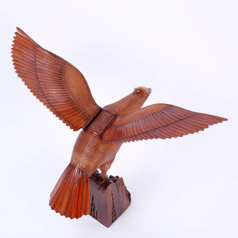 20th Century Wicker Bird Sculpture  For Sale