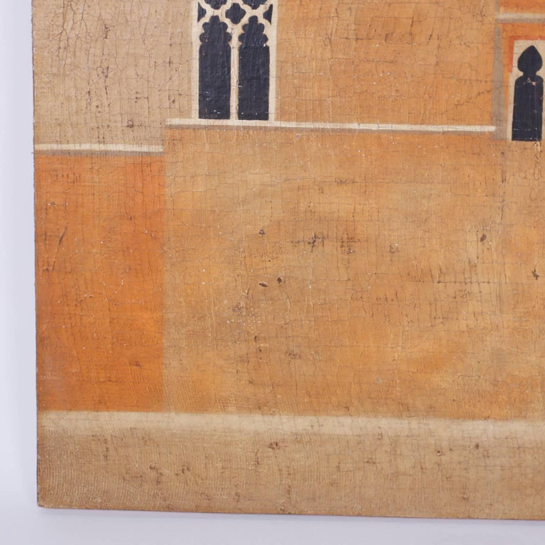 Architectural Oil Painting on Burlap In Excellent Condition For Sale In Palm Beach, FL