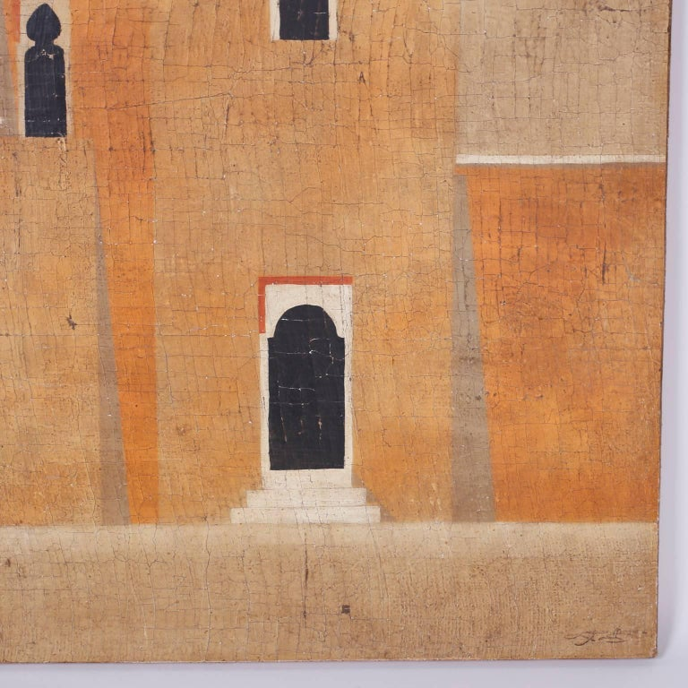 American Architectural Oil Painting on Burlap For Sale