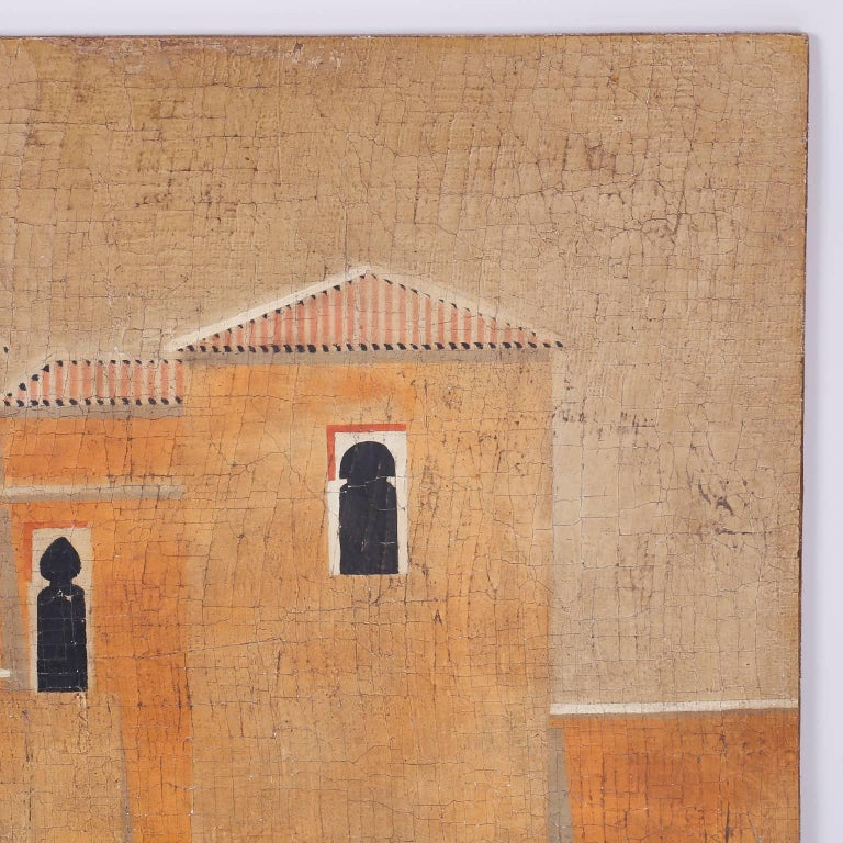 Rustic Architectural Oil Painting on Burlap For Sale