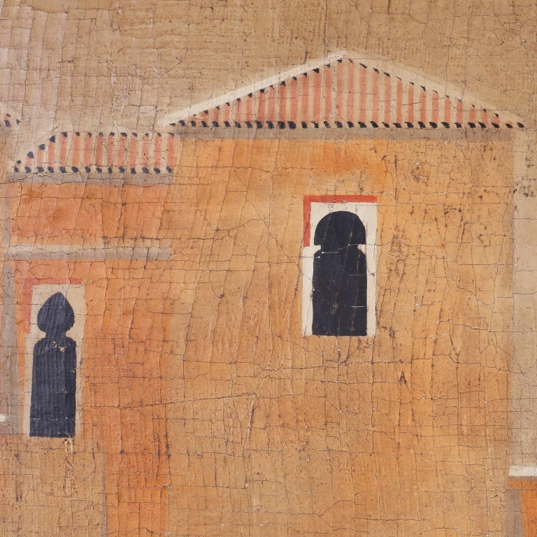 Architectural Oil Painting on Burlap For Sale 1
