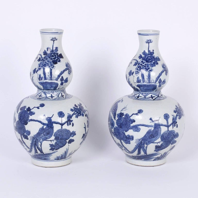 Pair Of Blue And White Double Gourd Vases For Sale At 1stdibs