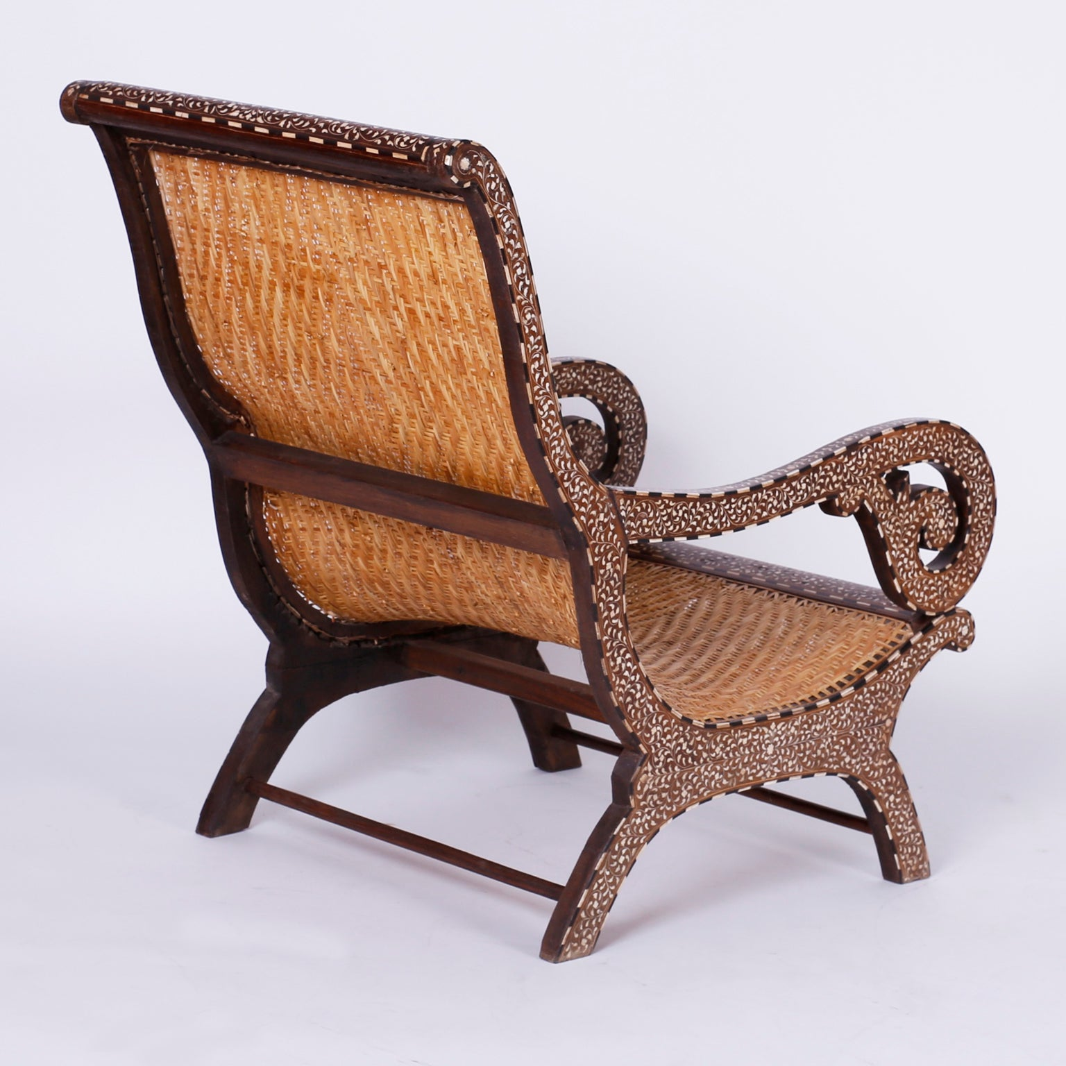 Pair Of Anglo Indian Inlaid Plantation Chairs For Sale At 1stdibs