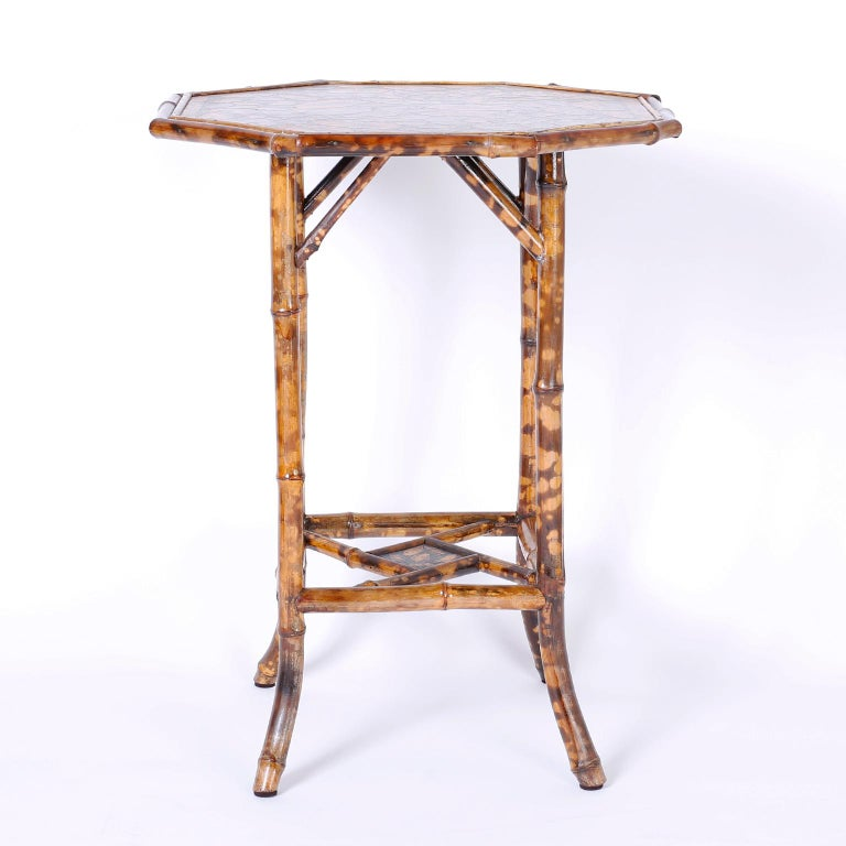 Victorian Antique English Bamboo Table with Seashell Decoupage For Sale