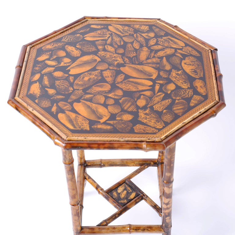 Antique English Bamboo Table with Seashell Decoupage In Good Condition For Sale In Palm Beach, FL