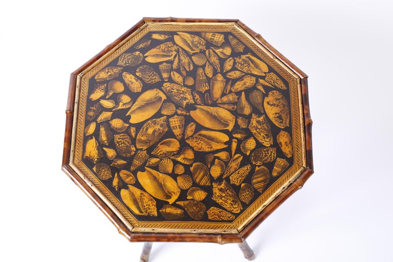 19th Century Antique English Bamboo Table with Seashell Decoupage For Sale