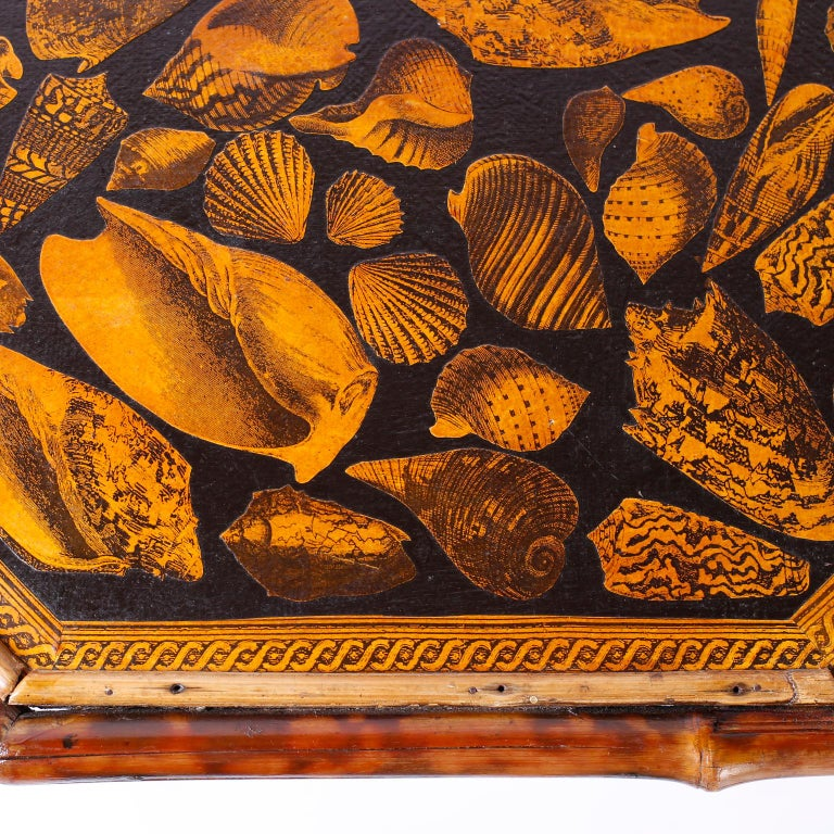 Antique English Bamboo Table with Seashell Decoupage For Sale 1