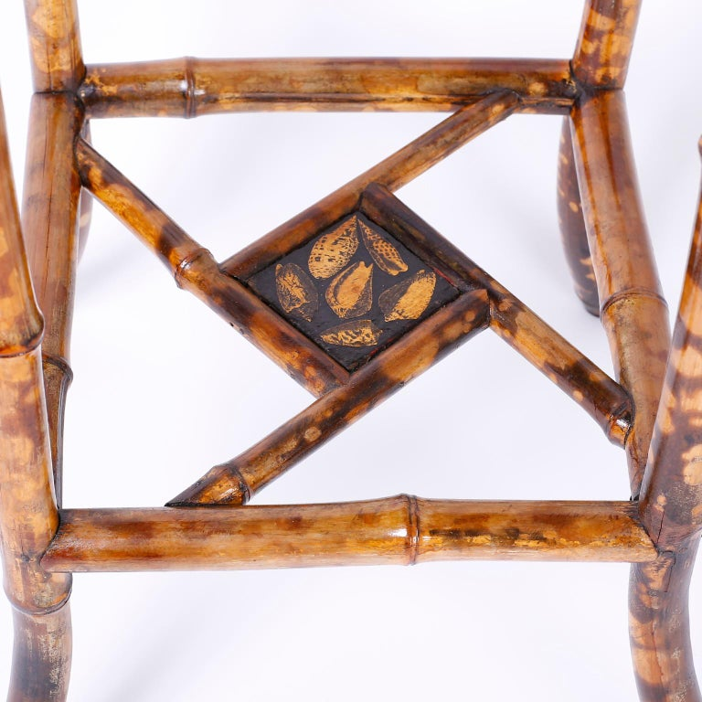 Antique English Bamboo Table with Seashell Decoupage For Sale 2