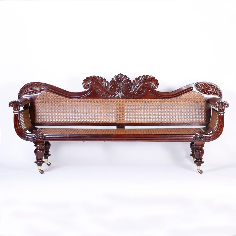 Fine British Colonial Mahogany Settee From The West Ins With Dramatic Acanthus Carvings On