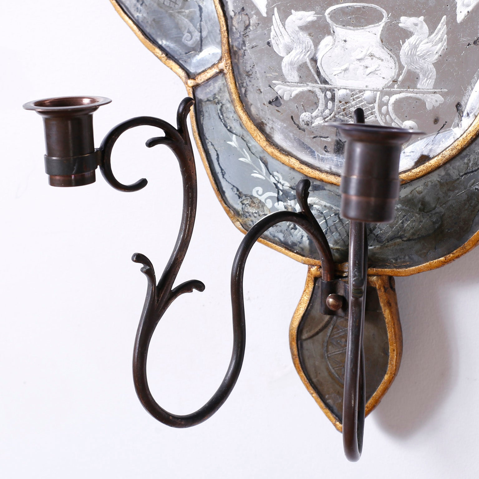 Set of chandelier and pair of wall lights with winged horse