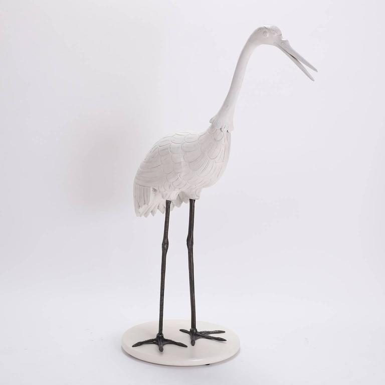 Pair of Mid Century Crane Sculptures  In Excellent Condition For Sale In Palm Beach, FL