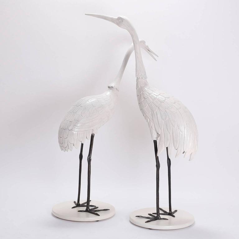Italian Pair of Mid Century Crane Sculptures  For Sale