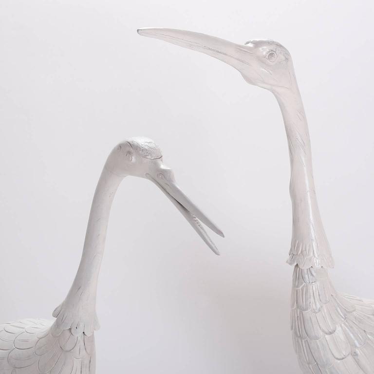 Pair of Mid Century Crane Sculptures  For Sale 1