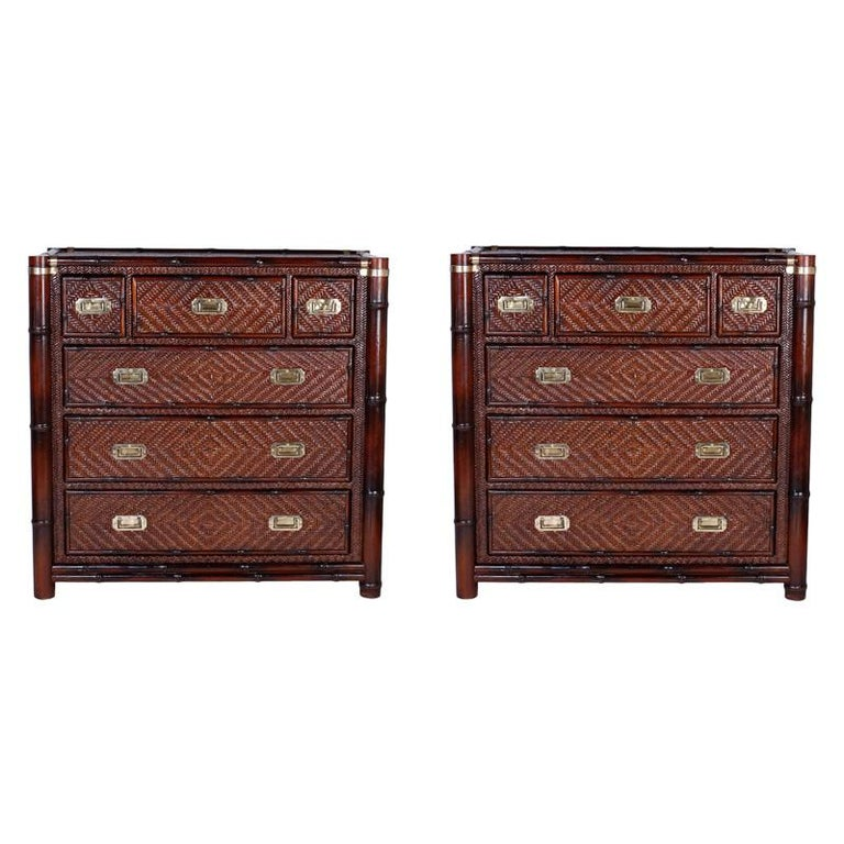 Pair of Faux Bamboo and Rattan Chests