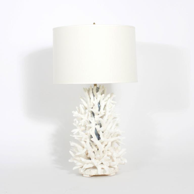 Superb Pair Of Custom Designed Staghorn And Blue Coral Table Lamps. Authentic  Natural Coral Designed And