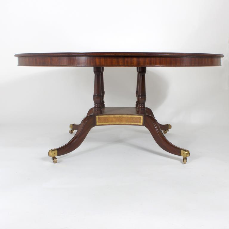 American Round Leather Top Dining or Library Table For Sale