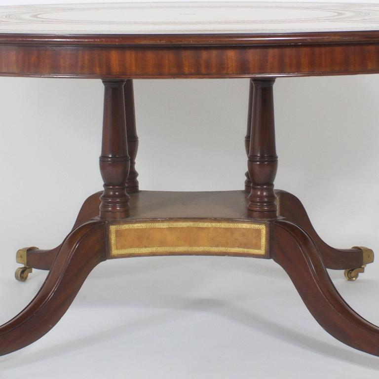 Round Leather Top Dining Or Library Table In Excellent Condition For Sale  In Palm Beach,