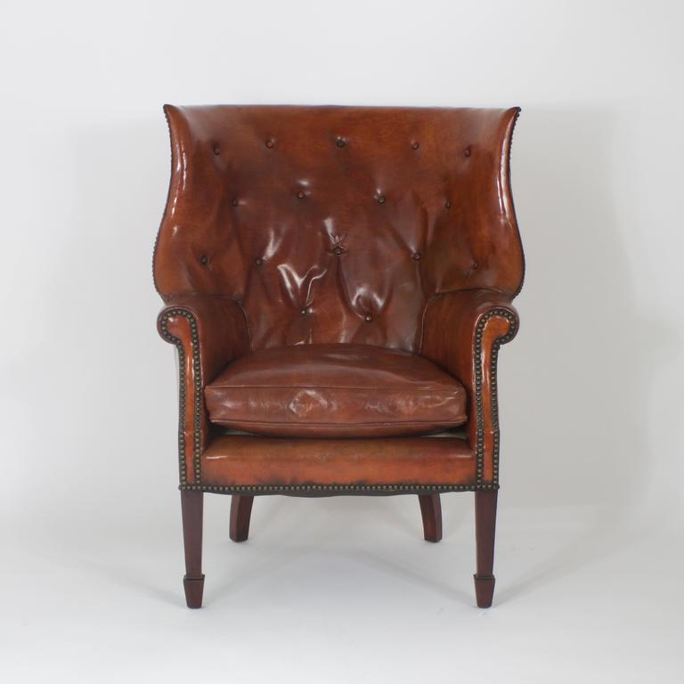 Pair Of Leather Edwardian Wing Chairs At 1stdibs