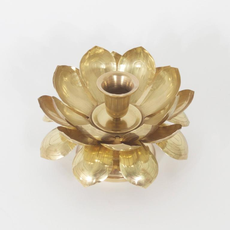 Exotic brass lotus flower candle holder at 1stdibs exotic brass lotus flower candle holder with three layers of brass lotus leaves with stylized veins mightylinksfo