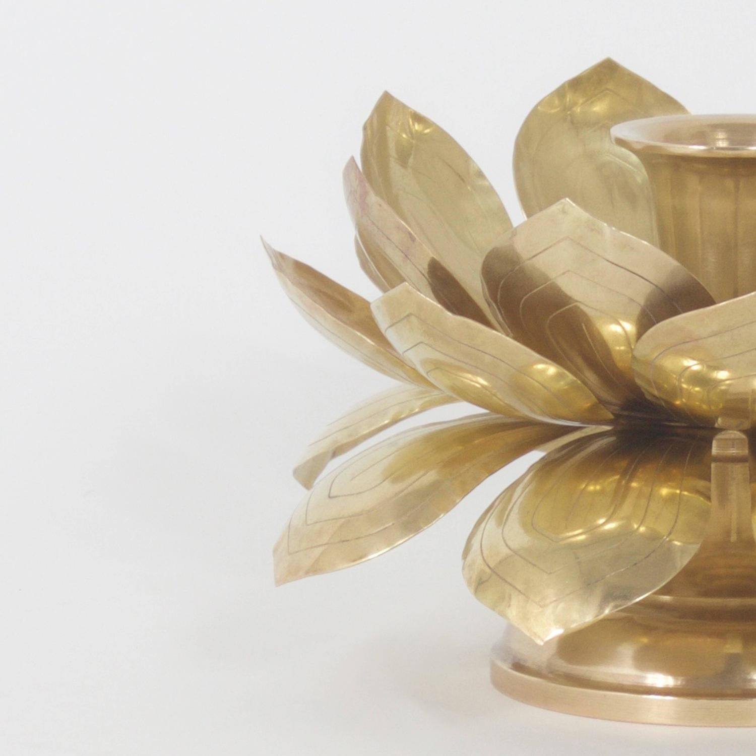 Exotic Brass Lotus Flower Candle Holder at 1stdibs