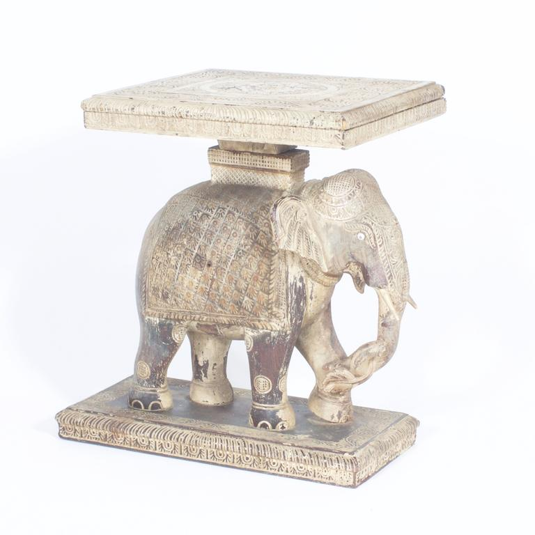 Beautiful Rustic Anglo Indian Elephant Table 2