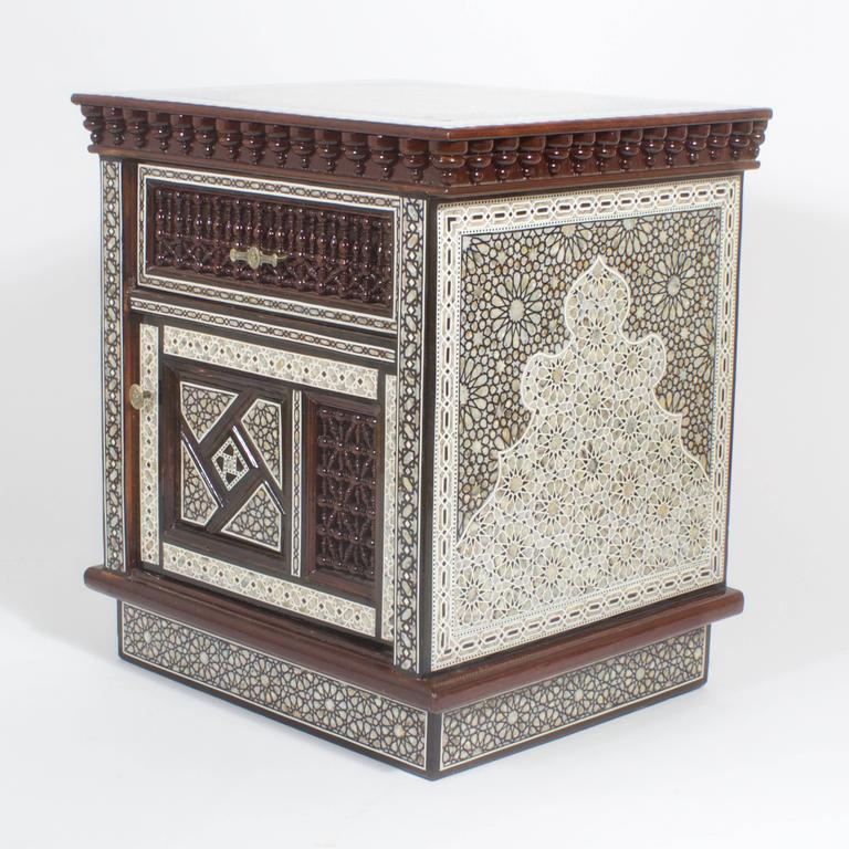 Moorish Pair Of Large Scale Midcentury Moroccan Nightstands For Sale