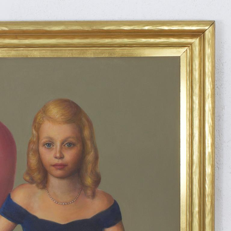 Mysterious mid century oil painting of blonde haired blue eyed twins with a socialite air about them. Like a postcard from the past that asks: Who are they and what was their story? Presented in an impressive gold frame and signed