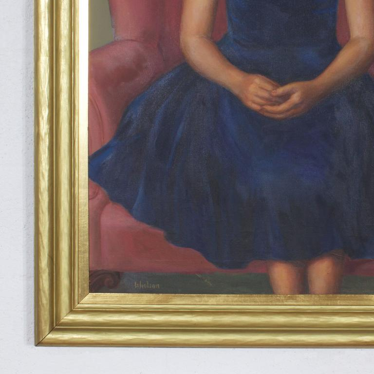 American Mid Century Oil Painting of Twins For Sale