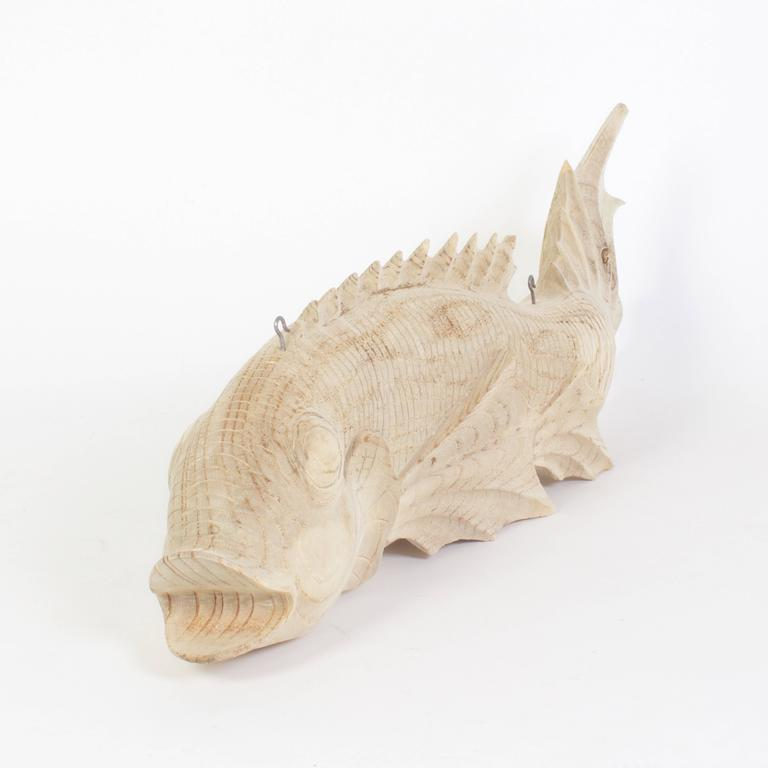 Carved wood hanging fish for sale at stdibs