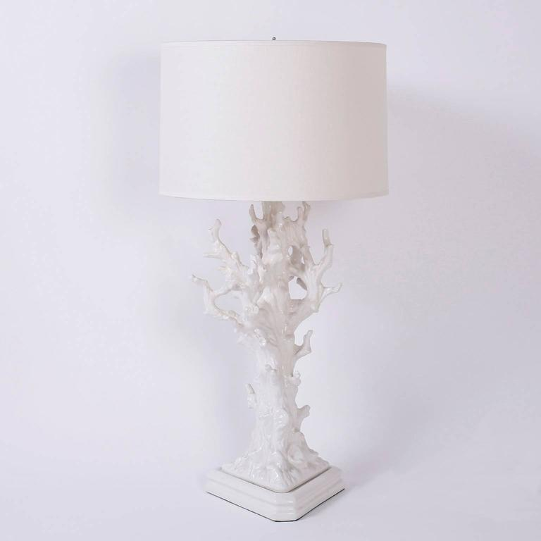 Mid-Century Modern Pair of Faux Coral Table Lamps For Sale