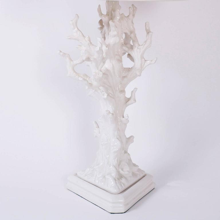 Italian Pair of Faux Coral Table Lamps For Sale