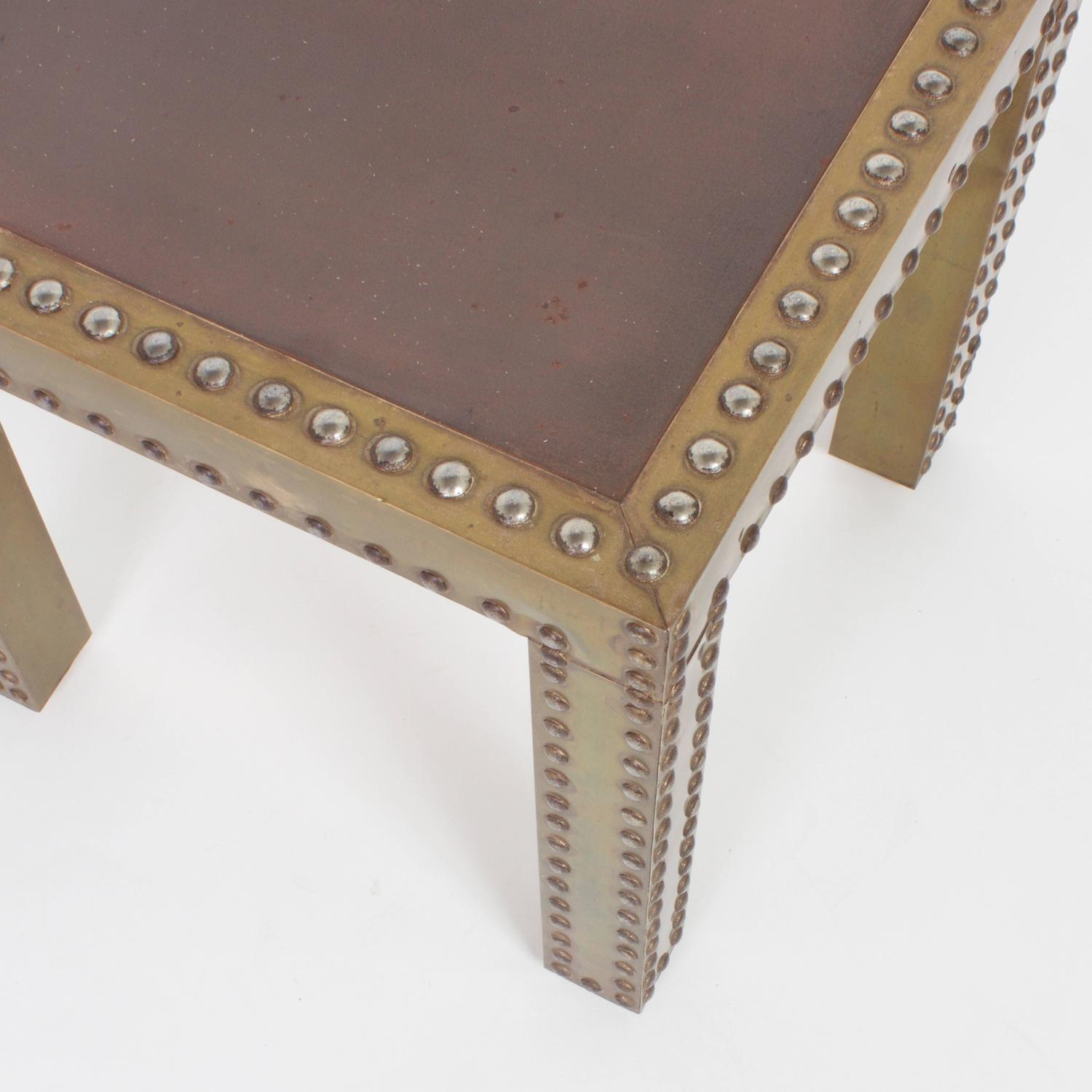 Vintage Pair Of Brass Parsons Tables With Studs For Sale