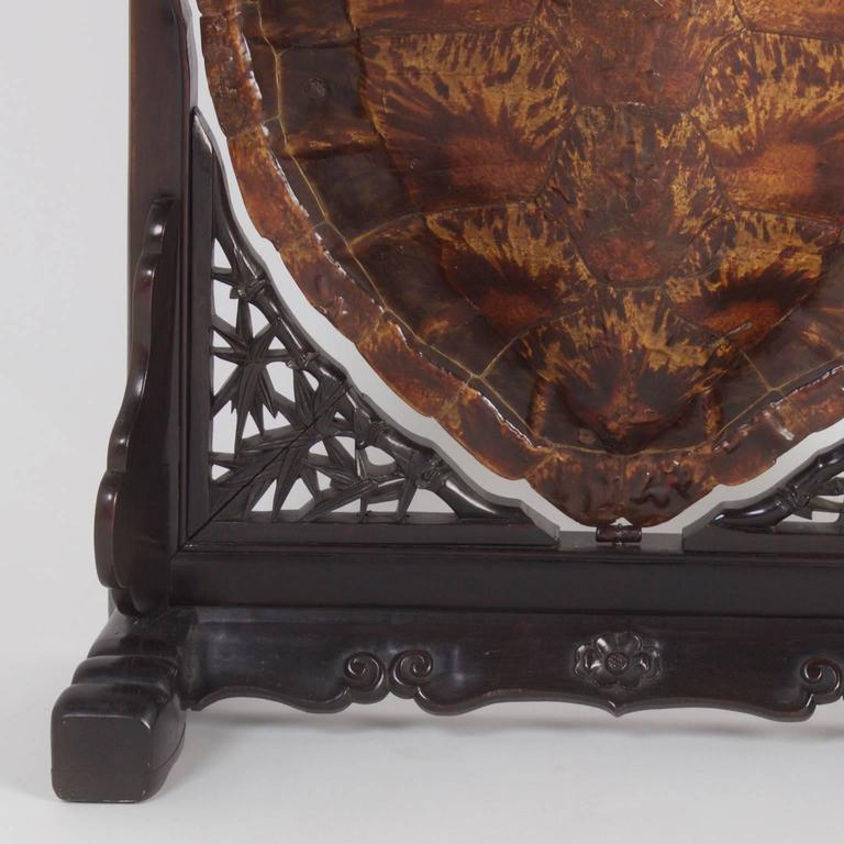 19th Century Antique Chinese Turtle Shell Vanity Mirror For Sale 2