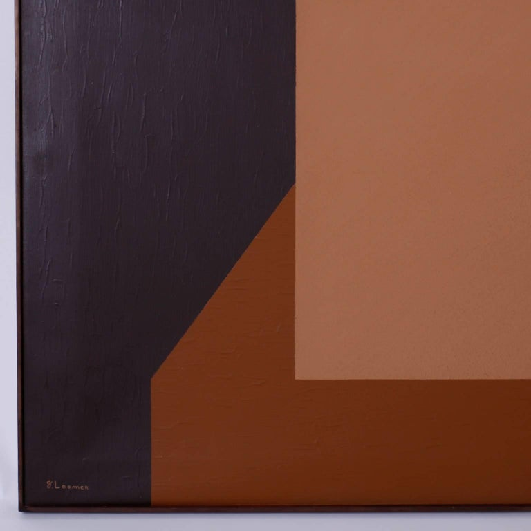 20th Century Mid-Century Geometric Abstract Acrylic Painting on Canvas For Sale
