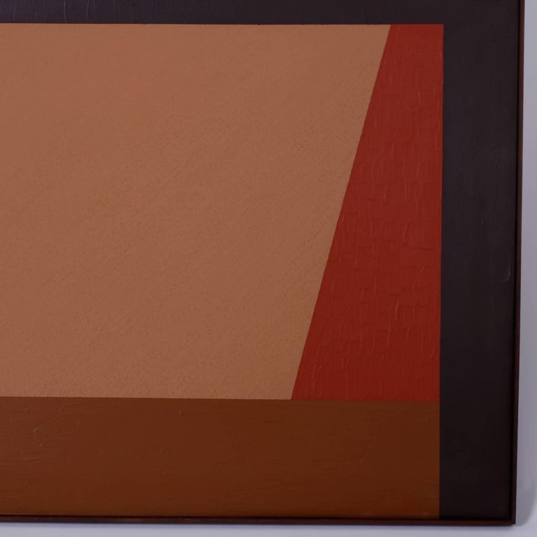 Mid-Century Geometric Abstract Acrylic Painting on Canvas In Excellent Condition For Sale In Palm Beach, FL