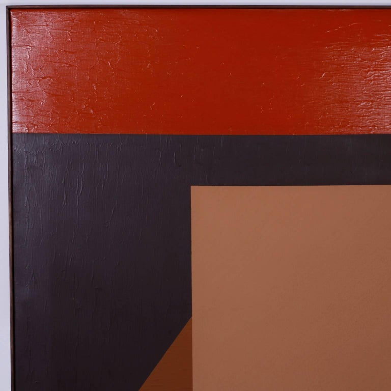 Mid-Century Modern Mid-Century Geometric Abstract Acrylic Painting on Canvas For Sale