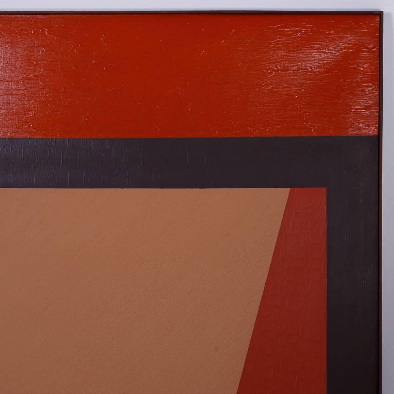 American Mid-Century Geometric Abstract Acrylic Painting on Canvas For Sale