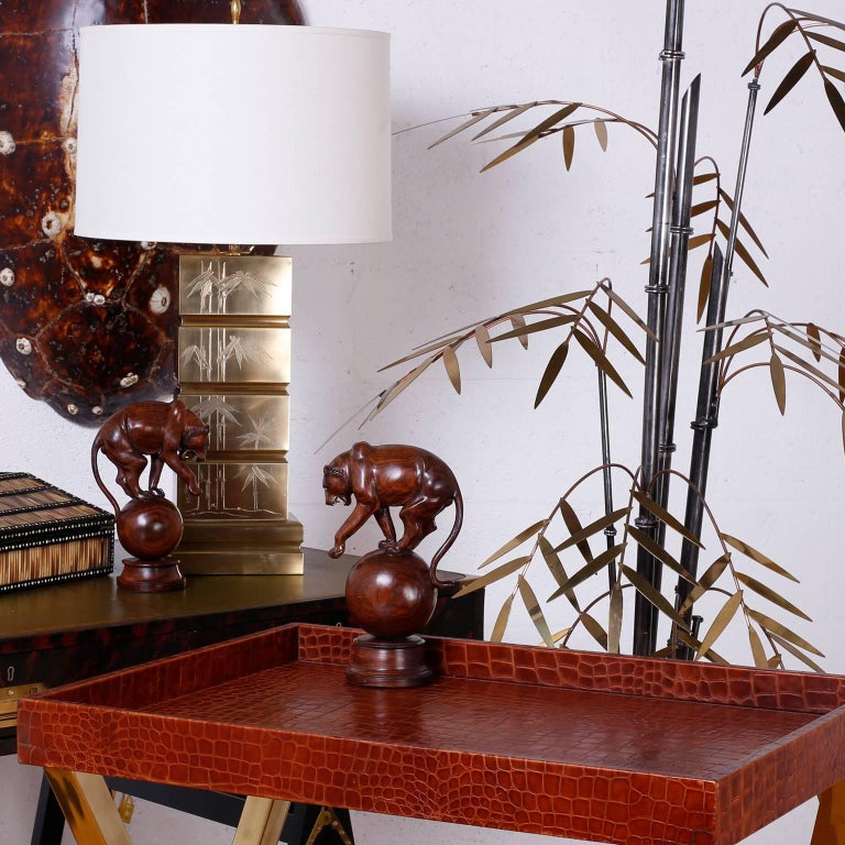 Mid-Century Brass and Copper Faux Bamboo Sculpture or Light Fixture For Sale 3