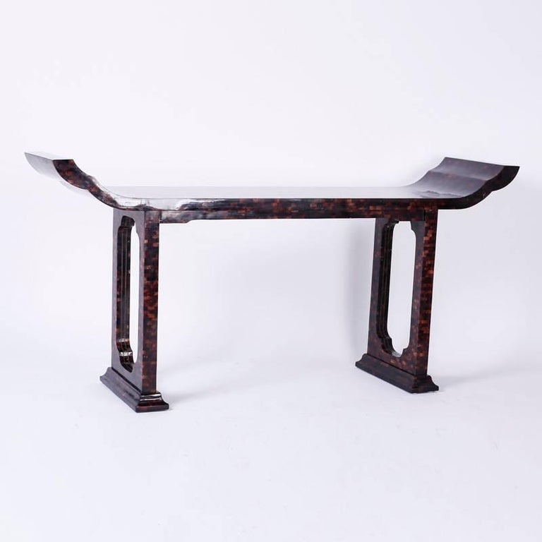 Mid-Century Modern Mid-Century Penshell Pagoda Console or Hall Table For Sale