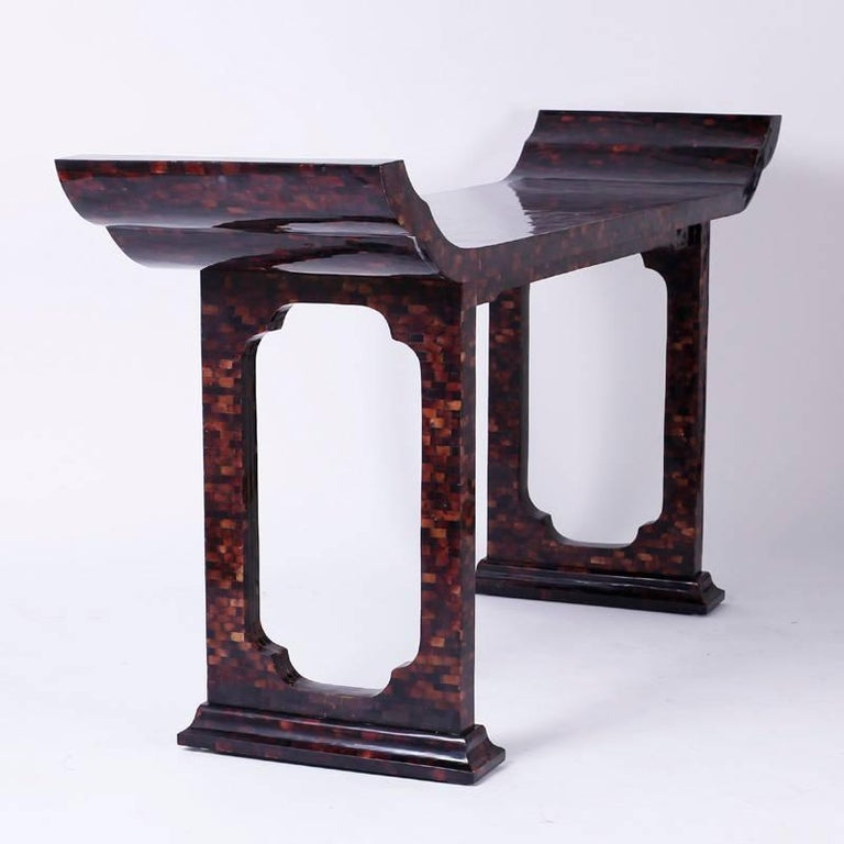 American Mid-Century Penshell Pagoda Console or Hall Table For Sale