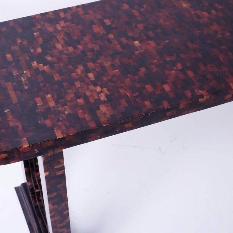 Shell Mid-Century Penshell Pagoda Console or Hall Table For Sale