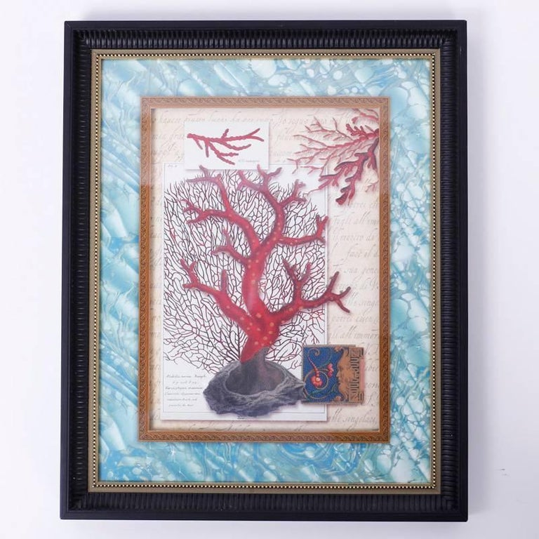 North American Set of Four Red Coral Prints in Custom Frames For Sale
