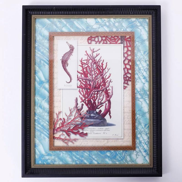 Set of Four Red Coral Prints in Custom Frames For Sale 2
