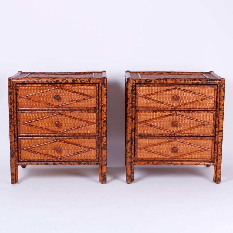 Pair Of British Colonial Style Bamboo Nightstands Or Tables For Sale At 1stdibs