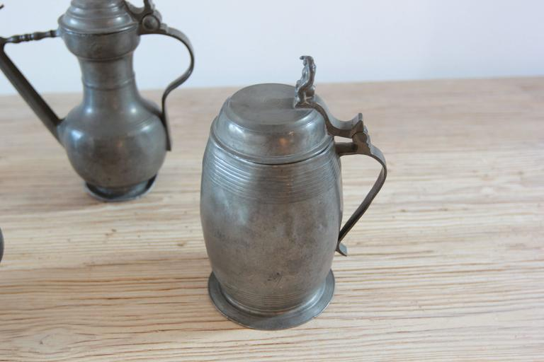 Unknown Various Pewter Steins  For Sale