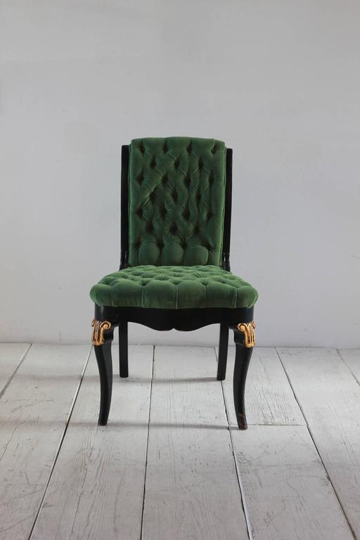 Black And Gold Painted Regency Chair Upholstered In Green
