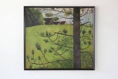 Dark Wood Framed Green Landscape