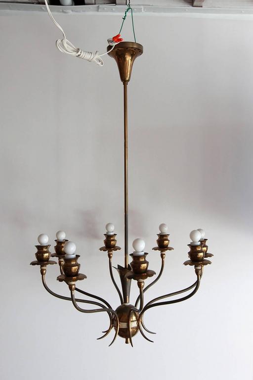 20th Century Italian Brass Eight-Arm Chandelier For Sale