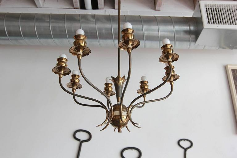 Italian Brass Eight-Arm Chandelier In Distressed Condition In Los Angeles, CA